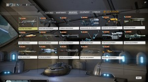 The market has a huge selection of Weapons to build. Check back regularly to see which Blueprints you can access.