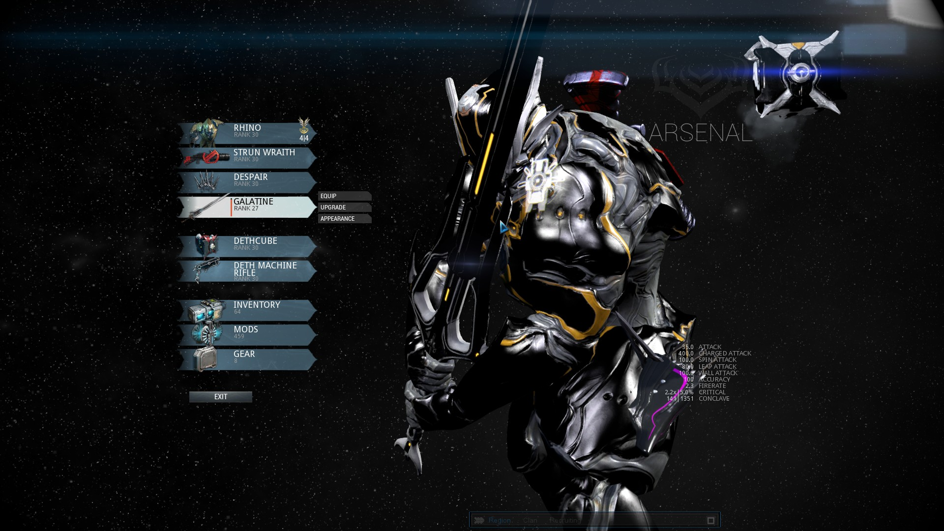 Warframe best weapons 2015 - Offensive Loadouts Perfectly Compliment Rhino Choose Large 2h Weapons High Burst Weapons