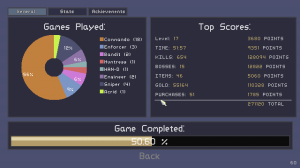 The game will show you interesting statistics, unlocked items and fun-to-read item and monster logs
