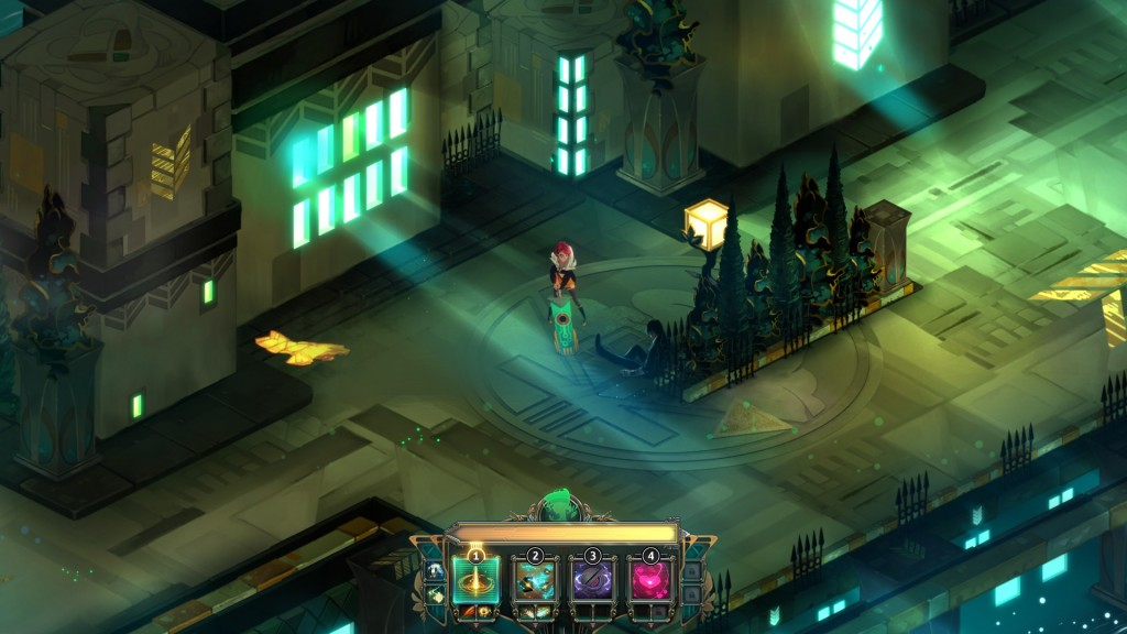 Instead of slowly introducing its mechanics, Transistor bombards you with input right form the start. It can be overwhelming, but also sparks curiousity within the player.
