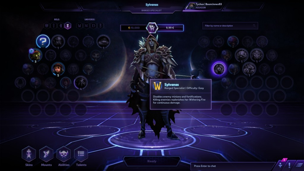 Lots of prominent Heroes can be selected within the easy to use menus. Blizzard spent a lot of effort into making the MOBA genre more accessible to a wide audience.